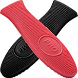 Cbiumpro Cast Iron Handle Cover, 2 Pack Extra-Thick Silicone Heat Resistant Pot Holder Sleeve Cast...