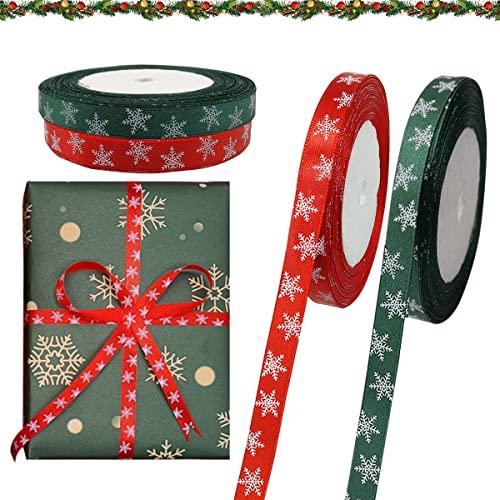 50 Yards Cintas Navideñas,Cinta Regalo Navidad,Cinta Raso Navidad,Cinta Navidad Tela,Cinta Lazos Navidad para Regalos Decorativos,Flores o Artesanías