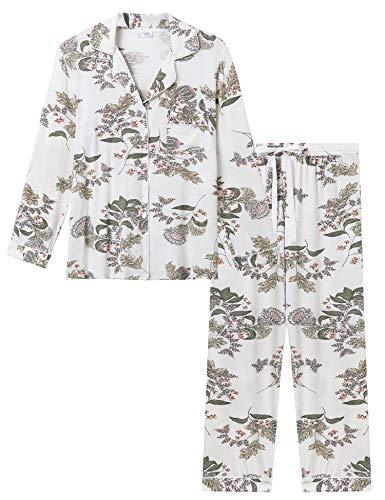 Joyaria Pyjama Damen Lang Bambus Schlafanzug mit Knopfleiste Weich Langarm Zweiteiliger Nachtwäsche Hausanzug(Blumen,Größe S)