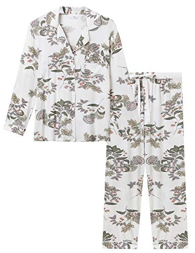 Joyaria Ladies Soft Jersey Knit Button Down/Up Long Sleeved Pajama/Pj/Sleep Sets(Floral, XXL)