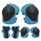 IPENNY - Protector de rodilla para codos, protector de bicicleta para niños, 6 piezas, apto para patinaje con ruedas para niños, bicicleta de montañismo, color azul, tamaño small