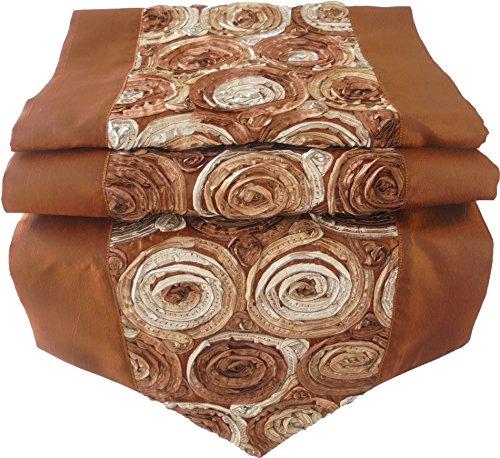nappe tablerunner chemin de table lin soie thaïlandaise élégante précieux Roses fleurs brun 200 cm x 30 cm