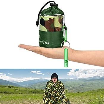KATELUO Sac de Couchage de Survie,Sac de couchage d'urgence,Couverture de Survie,sac de survie,réutilisable, avec sifflet de sauveteur, ultra léger et étanche, pour les activités de plein air (Vert 2)