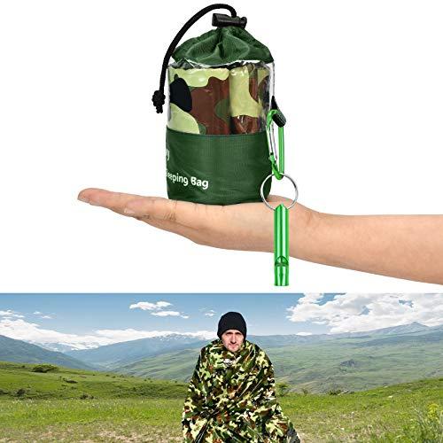 KATELUO Saco de Dormir Emergencia,Saco de Emergencia Dormir,Impermeable Ultraligero, con Silbato, Bolsa de Supervivencia Reutilizable, Adecuada para Actividades al Aire Libre, Camping (Verde 1)