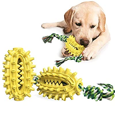 LucaSng Dog Toothbrush Toy, Cactus Shaped Dog Chew Toy with Cotton Rope, Dog Teeth Cleaning Toy, Dog Rope Toy for Small, Large Dogs and Aggressive Chewers?Yellow?