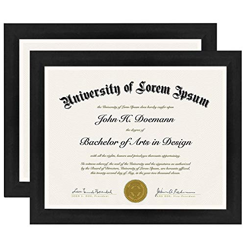 Americanflat 8.5x11 Diploma Frame in Black with Polished Glass - Horizontal and Vertical Formats for Wall and Tabletop - Pack of 2