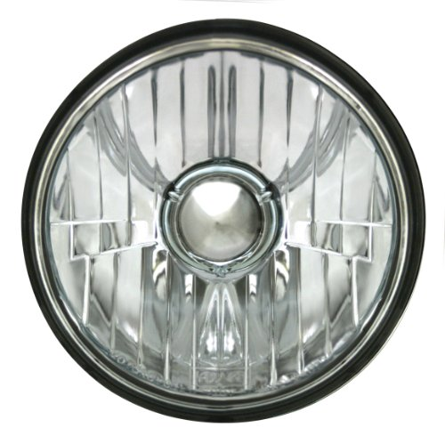 "ADJURE T50100 Smooth Clear Lens 5-3/4"" Diamond Cut Ice Motorcycle Headlight with H4 Bulb"