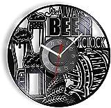 Reloj de Cerveza, Reloj de Vinilo, Reloj de Pared Moderno, Reloj de Arte de Cerveza con lúpulo de Malta de Cebada, Reloj Retro de Cerveza para Bar en casa