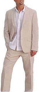 Beige Wedding Suits Summer Beach Men Suits 2 Pieces Groom Tuxedos 2 Buttons