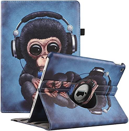 Rotating Custodia per iPad 10.2 Pollici 8a Generazione 2020 / 7a Generazione 2019 - 360 Gradi di Rotante Cover Protettiva Case con Auto Sonno/Sveglia (Monkey)
