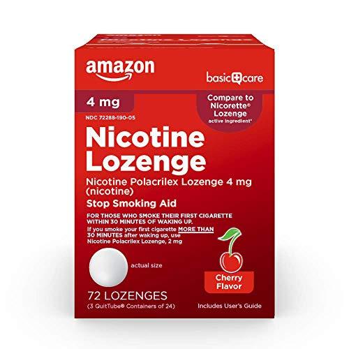 Amazon Basic Care Nicotine Polacrilex Lozenge, 4 mg (nicotine), Stop Smoking Aid, Cherry Flavor; quit smoking with cherry nicotine lozenge, 72 Count