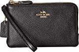 COACH Polished Pebbled Leather Double Corner Zip Bag Li/Black One Size