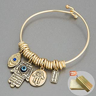Gold Hamsa Hand Blue Eye Protect Statement Charm Indie Bohemian Style Fashion Jewelry Bracelet For Women + Gold Cotton Filled Gift Box for Free