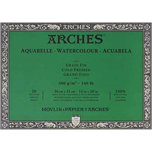 Arches Watercolor Paper Block - Cold Press 140lb - 16x20 - with 4-Pack Upsyde Angle Lifts