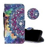 Obesky Coque pour Huawei Mate 20 Lite, Luxe Bling Diamant PU Cuir Housse de Protection Effet 3D Motif Mandala Fleur Wallet Flip Cover Fonction Stand Fermeture Magnetique Antichoc Bumper