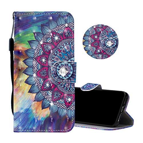Obesky Coque pour Xiaomi Redmi 6 Pro/Mi A2 Lite, Luxe Bling Diamant PU Cuir Housse de Protection Effet 3D Motif Mandala Fleur Wallet Flip Cover Fonction Stand Fermeture Magnetique Antichoc Bumper