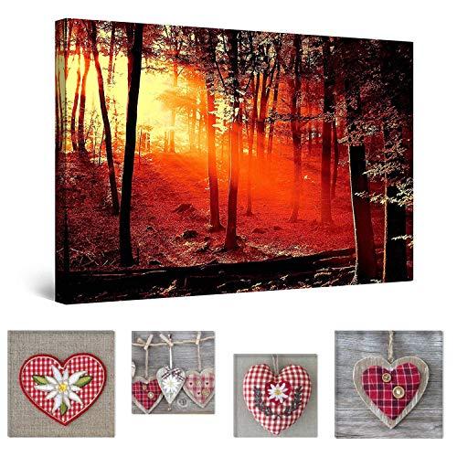 Eco Light Wall Art Bundle Sur Toile Superbe Rouge Coucher de soleil dans la forêt 60 x 90 cm pour salon ou chambre à coucher et Adorable Hearts Collage Lot de 4 encadrée des illustrations pour décoration intérieure