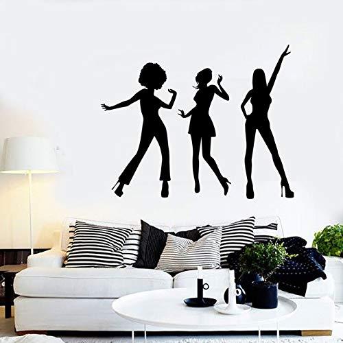 Tatuajes de pared música niña mujer dormitorio sala de baile decoración del hogar vinilo etiqueta de la pared arte mural