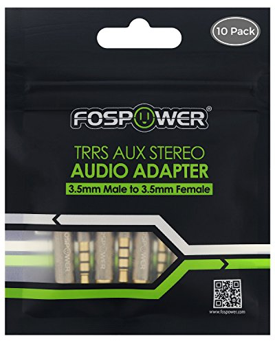 FosPower 3.5mm Male to 3.5mm Female Auxiliary 4-Conductor TRRS Stereo Audio Adapter [24K Gold Plated Connectors] for Apple, Samsung, Motorola, HTC, Nokia, LG, Sony & More (10 Pack)