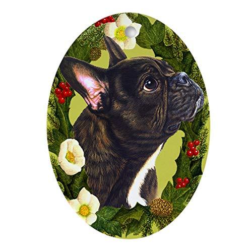 CafePress French Bulldog Ornament (Oval) Oval Holiday Christmas Ornament