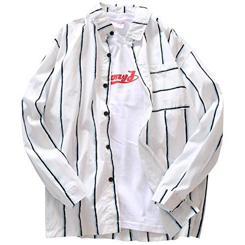 Camisa de Hombre de Gran tamaño, Informal, a Rayas, Simple, Coreano, cárdigan, Protector Solar, Abrigo Fino, Camisa Suelta de Manga Larga Large
