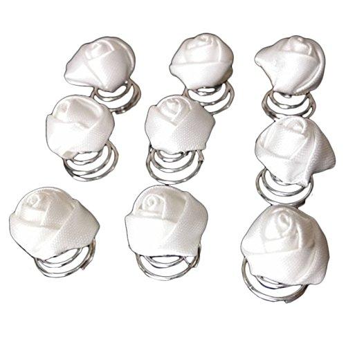 Power of Parfumes Miya® Lot de 12 pointes magnifique blanc rose en satin, épingles à cheveux haarpin spirales, cheveux de mariée Bijoux Mariage Cérémonie