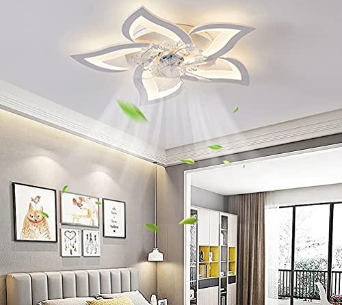 Leise Deckenventilator mit Beleuchtung Modern LED Deckenleuchte Dimmbar mit Ventilator Blütenform Fan Licht mit Fernbedienung Weiß Deckenlampe für Wohnzimmer Schlafzimmer Kinderzimmer φ60cm, 36W