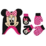 Disney Girls Minnie Mouse and Vampirina Winter Hat and 2 Pair Mitten or Glove Set (Toddler/Little Girl), Hot Pink Minnie 3D Mittens 2-4