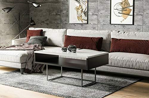 Endo-meubel salontafel 100x60 cm industriële vintage woonkamertafel metalen frame 100 wit hoogglans