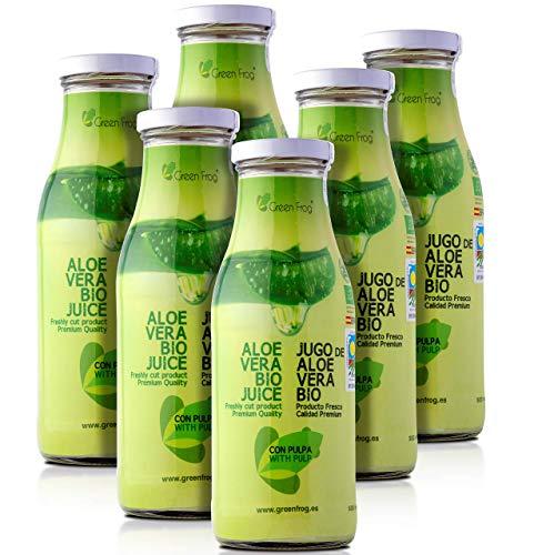 Green Frog Jugo de Aloe Vera Bio con Pulpa, Aloe Vera Fresco para Beber Ecológico Elaborado en España Pack de 6 Botellas, 6x500 ml