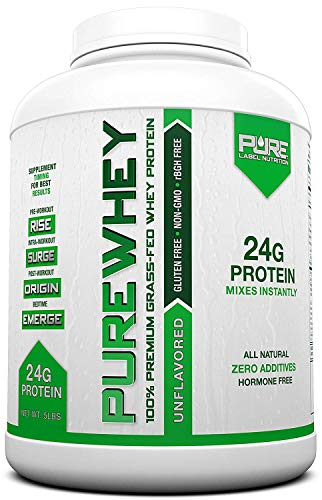 Pure Label Nutrition Whey Protein Concentrate, 100% Natural Grass Fed Unflavored Protein Powder, Gluten-Free, Low Carbs with No Added Sugar, 5 lb