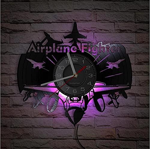 yltian Reloj de Pared con Registro de Vinilo de piloto de Combate, Reloj de Pared de aviación de Oficina de Combate, artesanía de Registro de la Fuerza Aérea de piloto