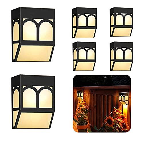 Iluminación Exterior- LED Lámpara Luz Solar Impermeables para Valla Porche Garaje del Jardín Camino Decoración Navideña [2 Modos ] Luz Blanca/Cambio de Color (Paquete de 6)