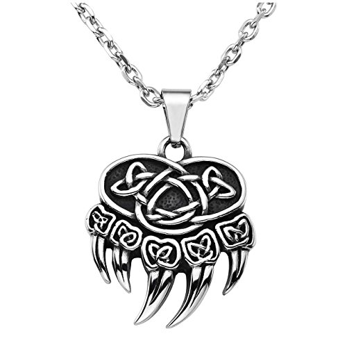 Jovivi Mens Punk Stainless Steel Nordic Celtic Knot Bear Paw Claw Pendant Necklace, Silver Black, with Gift Box