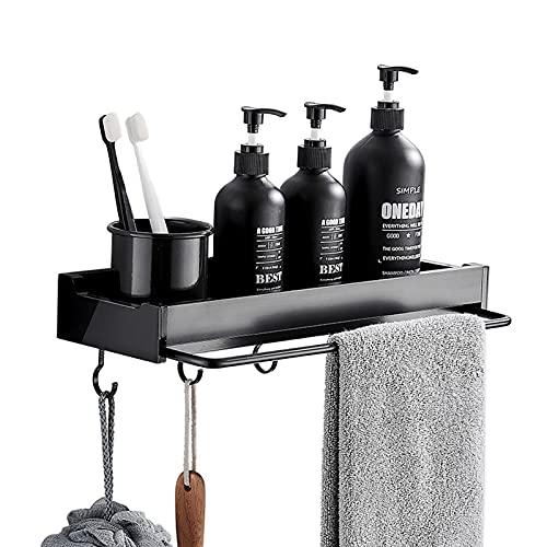 Duschablage Ohne Bohren mit Handtuchhalter und Haken, Selbstklebend Badregal Duschregal, Space-Aluminium Duschkorb Dusche Organizer für Badezimmer Küche, Schwarz