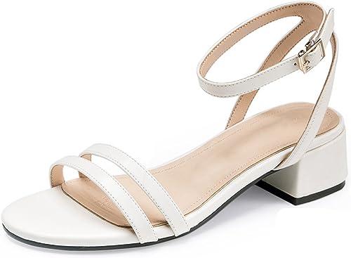 JIANXIN La Mode Printemps Et été été des Femmes Et Une Variété De Sandales Assorties avec Un Bouton Sexy Et Un Talon Moyen Et des Chaussures pour Femmes. (Couleur   Blanc, Taille   34)  le style classique