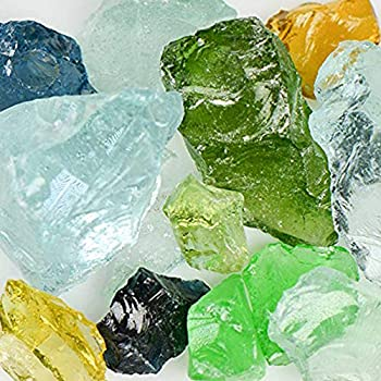 American Specialty  Jewel Mix  Mixed Landscape Glass Glass – Landscaping Glass - 10 lbs Large