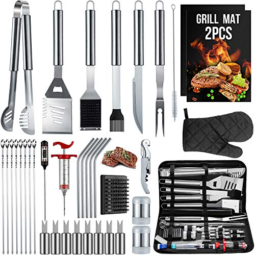 SixSun 36PCS BBQ Grill Tools Set Stainless Steel Grilling Accessories with Spatula, Tongs, Skewers for Barbecue, Camping, Kitchen, Complete Premium Grill Utensils Set in Storage Bag