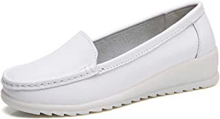 Women's All White Nursing Shoes Comfortable Slip On Nurse Work Wedge Leather Loafers