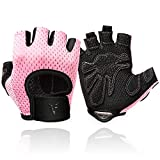 HILAEX Workout Gloves for Men & Women Gym Weight Lifting Exercise Training Cycling Palm Protection Gloves (Pink-2, M)
