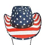 Amosfun Sombrero de Vaquero de la Bandera Americana Personalidad clásica Verano Sombrero de Sol Sombrero de Vaquero de ala Ancha (Cap White Edge)