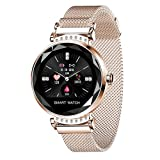 2021 New Luxury Smart Fitness Ladies Bracelet Blood Pressure Heart Rate Monitoring Wristband Ladies Watch Gifts for Friends (Gold)