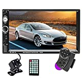 Hikity Double Din Car Stereo 7 Inch Touch Screen Radio Bluetooth FM Receiver Support Mirror Link for Android iOS Phone with USB AUX-in TF Card Port + Backup Camera and Remote Control