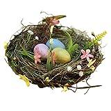 YHNHT - Nido di Pasqua in rattan, nido artificiale per uccelli, con nido di uccelli naturali, include uova artificiali in schiuma, ornamenti per la decorazione della casa