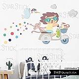 StarStick - Vespa gris con animales - Vinilo decorativo infantil y bebé original - T2 - Mediano