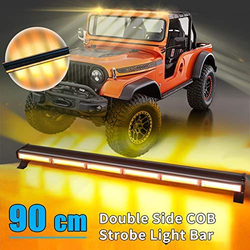 35 Zoll Zweiseitig LED Rundumkennleuchte 240W Gelb Rundumleuchte für Auto Anhänger Wohnwagen SUV -16 Blinkende Stroboskop-Modi