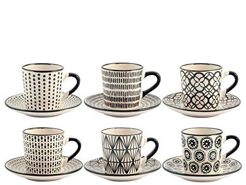 Set 6 Kaffeetassen STW Dekor schwarz mit Untertasse 90 cc. Porzellan H & H