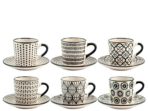 H&H Vhera Set 6 Tazzine Caffè con Piattino, Stoneware, Bianco/Nero, 90 ml