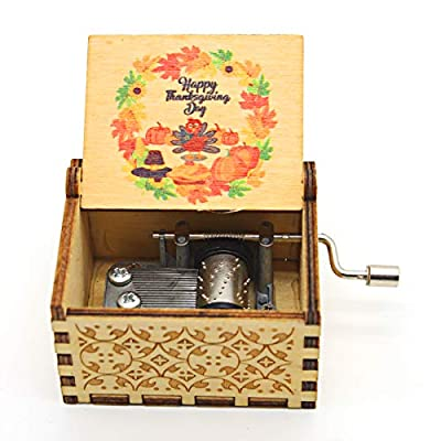 Aokely Happy Thanksgiving Day Music Box Hand Crank Laser Vintage Wood Carved Musical Box Gifts for Kids Daughter Son Wife Dad Friends Thanksgiving Day (Wood- Happy Thanksgiving)