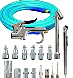 Bundle Includes 2 Items - Campbell Hausfeld 17-Piece Air Tool and Accessory Kit (MP284701AV) and Amflo 12-25E Blue 300 PSI Polyurethane Air Hose 1/4' x 25' with 1/4' MNPT Swivel Ends and Bend